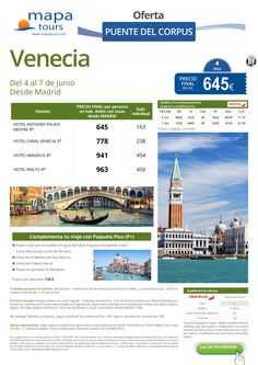 Venecia Puente del Corpus salida Madrid **Precio Final desde 645** ultimo minuto - http://zocotours.com/venecia-puente-del-corpus-salida-madrid-precio-final-desde-645-ultimo-minuto-2/