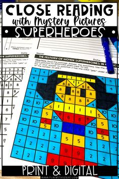 If you are looking for passages to help your students practice their close reading skills this superhero themed close reading passages and mystery pictures are it! Upper elementary students will love reading all about superheroes and practicing their close reading strategies. Includes 3 differentiated passages, mystery picture, text depedent questions and graphic organizer. These reading passages come in print form & digital form for distance learning.
