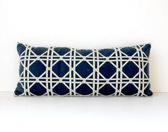 Lattice Trellis Designer Pillow Cover bolster by WhitlockandCo, $36.00