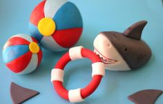 Fondant Cupcake Topper - Set of Shark Themed Toppers - Pool Beach Party - Perfect for Summer Events by Les Pop Sweets on Gourmly