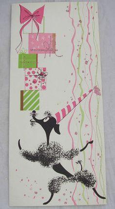 Vtg 1955 50s Citation Christmas Card Pink Green Black Poodle Dog Presents Gifts | eBay