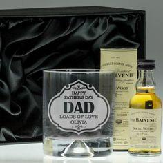 Engraved Dimple Base Tumbler and Whisky Set - Dad Badge Design