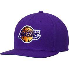 Men s Mitchell   Ness Purple Los Angeles Lakers Wool Solid 2 Adjustable  Snapback Hat 0918630eb