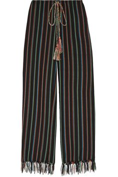 Miguelina Gambaccini's collections are inspired by her love of the beach. Perfect for your next warm-weather getaway, these wide-leg pants are made from breathable cotton-blend and trimmed along the hem with fluttering tassels. Coordinate your top with one of the kaleidoscopic turquoise, red or coral hues.