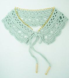 Crochet lace - Peter Pan collar in mint and gold, completed item to buy from ThreadBear