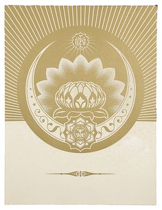 Shepard Fairey (Obey), Obey Lotus Crescent (White & Gold)