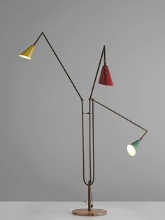 Italian Multicolored Floor Lamp with Brass and Marble | From a unique collection of antique and modern floor lamps at https://www.1stdibs.com/furniture/lighting/floor-lamps/
