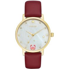 kate spade new york Women's Metro Zodiac Cancer Merlot Leather Strap... ($195) ❤ liked on Polyvore featuring jewelry, watches, red, kate spade watches, leather-strap watches, red jewelry, red dial watches and kate spade