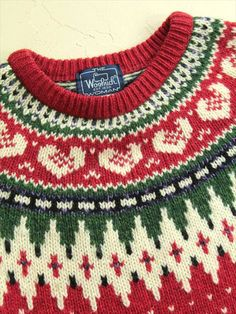 【XL】80's Woolrich(ウールリッチ) ノルディック柄ニットセーター レディース 赤 http://littletree-usa.com/products/detail.php?product_id=2546