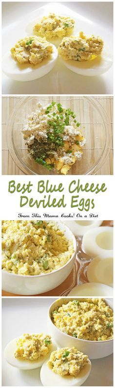 Got hard boiled eggs? Make this gluten free and easy to make Best Blue Cheese Deviled Eggs appetizer recipe from This Mama Cooks! On a Diet.