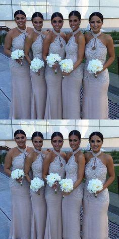 8b646100578 Mermaid Halter Keyhole Wedding Party Dress