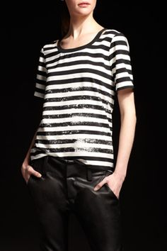 Sequined stripe make this tee glam!