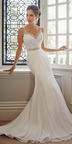 2017 Sexy V-Neck Backless Mermaid Wedding Dresses White Chiffon Crystal Vestido De Renda Branco Wedding Gowns Bridal Gown Wedding Dresses 2014, Wedding Attire, Bridal Dresses, Wedding Gowns, Bridesmaid Dresses, Backless Wedding, Dresses 2016, Sofia Tolli Wedding Dress, Dresses Online