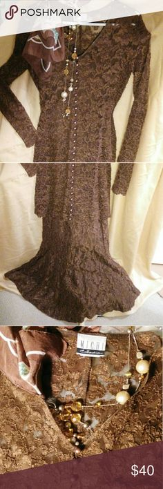 Two Pc Brown Lace Dress. Feel Elegant. Turn Heads Really beautiful, flattering stretch lace slip-top skirt and long lace, fitted top with button detailing.  Feel comfortable while being dressed up. Behaves well at operas, weddings and fundraisers. Great look paired with cowboy boots, a simple necklace and a great hat. Michi Dresses Long Sleeve