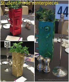 Student-made centerpieces -- wooden sculptures School Auction Projects, Auction Ideas, Class Projects, Art Projects, Wooden Sculptures, School Fundraisers, Center Pieces, Banquet, Fundraising