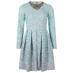 Matthew Williamson Winter Garden Organza Dress ($1,695) ❤ liked on Polyvore featuring dresses, vestidos, short dresses, платья, blue fitted dress, blue mini dress, iridescent dress, sleeved dresses and fitted mini dress