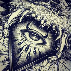 omniscient eye in an upside down triangle... imaginarium customisation is on the way . #ink #limited #eye #film #dog #surreal #blackandwhite