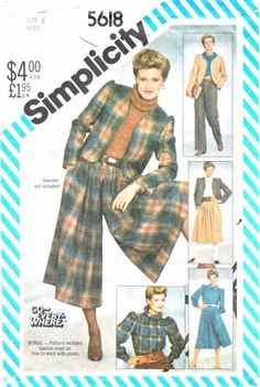 Simplicity Sewing Pattern 5618 Misses Size 8 Wardrobe Jacket Blouse Skirt-Split Skirt Culottes