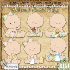 Welcome Sweet Baby 1 - Exclusive Cheryl Seslar Country Clip Art