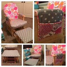 Rocker/Glider Makeover Every nursery needs a rocking chair and when you find one for a great deal in Glider Cushions, Rocking Chair Cushions, Glider And Ottoman, Rocking Chairs, Recover Glider Rocker, Glider Chair, Glider Redo, Chair Pockets, Rocking Chair Makeover