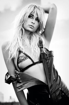 """Paris Hilton by Damon Baker for Interview Germany July/August 2015- wears the Mandy Coon """"Jamie"""" Leather/Lace Bra, available on mandycoon.com."""