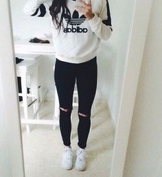 Autumn Winter//White Adidas Jumper, Black Ripped Skinny Jeans, White Nike Airforce