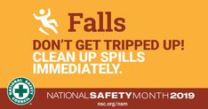 June is National Safety Month. Though they might seem harmless, slips, trips and falls are some of the most common hazards we face in the workplace, and they can have serious consequences. National Safety, Safety Awareness, Slip And Fall, Traumatic Brain Injury, Injury Prevention, Safety Tips, Public Health, Health And Safety, Helping People