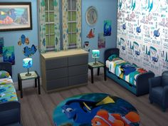 This set includes 10 items. Bed, Stickers, Wallpaper, Posters, Rugs, Lamps, An Armchair, A Clock, Some Paintings and Some Rugs. Found in TSR Category 'Sims 4 Kids Bedroom Recolor Sets'