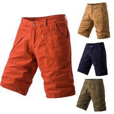 Brand New Men's Shorts 2017 Summer Men Solid Color Multi Pocket Casual Five Short Pants Bermuda Masculina Plus Size