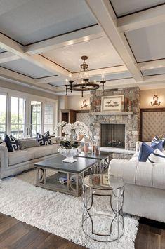 Luxury Interior Design Ideas – via Houzz - Best Home Deco Chic Living Room, Home And Living, Cozy Living, Small Living, Neutral Living Rooms, Living Area, Neutral Couch, Kitchen Living, Open Living Rooms