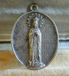 Large Antique French Blessed Virgin - Virgin Mary  Pendant Medal Medallion Jewelry Labarum Christogram  / Art Nouveau by PinyolBoiVintage on Etsy