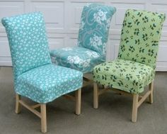 Slipcovers Choose a cool fabric and change your room right away with simple slipcovers. See fabric for this
