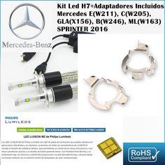 Kit Led Mercedes Clase E B C ML GL Sprinter ,con led PHILIPS de 9600 Lúmenes, Kit de conversión de Faros Halogenos H7 a Faros Led + Adaptadores :: MERCAELITE, kit xenon,Kit Led,Bombillas Led y Xenon,Accesorios