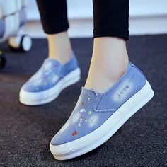 2017 New Spring Fall Denim Canvas Flat Women Loafers Shoes Platform A Pedal Lazy Shoes For Female Blue Single Shoes XP35