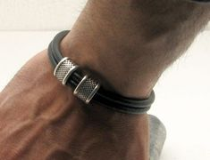 FREE SHIPPING Men's leather bracelet Black leather muti strand  leather bracelet with silver plated spacers and clasp