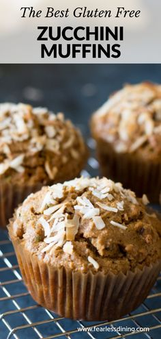 This easy gluten free zucchini muffins recipe is perfect for using garden fresh zucchini. Summer is the best for sweet zucchini. Hide vegetables in this delicious gluten free muffin recipe. gluten free recipe Light and Fluffy Gluten Free Zucchini Muffins Dairy Free Zucchini Muffins, Gluten Free Zucchini Recipes, Zucchini Muffin Recipes, Gluten Free Banana, Recipe Zucchini, Free Recipes, Healthy Recipes, Muffins Blueberry, Gluten Free Biscuits