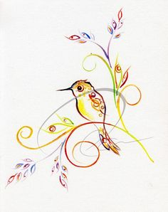 Art Print by Oladesign Humming Bird by oladesign on Etsy, $25.00
