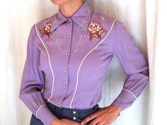 Vintage 1940/1950 Lilac western rodeo gabardine shirt by Ranch-Maid Western Denver via VoodooRetro, $129.00