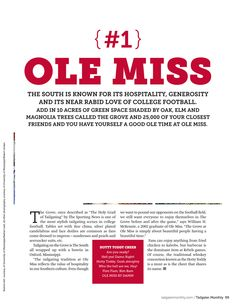 From my first cover story with Tailgater Monthly, Top 20 College Tailgates, from fall of 2011. We named Ole Miss the #1 tailgate scene in the land!