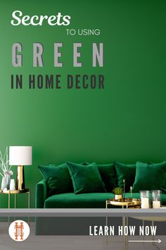 Learn 7 Secrets to Using Green in your Home Decor, from ever popular hunter green and forest green, to lighter shades like pistachio green and mint, green is a fabulous color in use in your home decor because it has so much range. Our faves: a green velvet sofa, green subway tiles, and classic hunter green kitchen cabinets. Hadley Court Interior Design and Home Decor Blog
