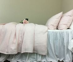 Chambray Blush Pink Linen Duvet Cover, natural linen, all sizes or custom size. Heirloom craftsmanship. #pinkbedding