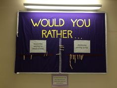 "residentassistantideas: ""Would you Rather…"" Who doesn't love a nice interactive bulletin board! Every week I changed the options for my residents to pick. Each clothes pin had the residents name so they could choice. Bonus, it works as a passive program Teen Bulletin Boards, Interactive Bulletin Boards, Bulletin Board Display, Teen Library, College Library, Library Ideas, Library Week, Teen Programs, Library Programs"