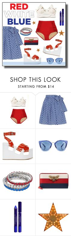 """""""#fourthofjuly"""" by hellodollface ❤ liked on Polyvore featuring Miu Miu, Prada, Gucci, By Terry and fourthofjuly"""