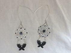 Boucles d'oreilles estampe, papillon et Obsidienne : Boucles d'oreille par…
