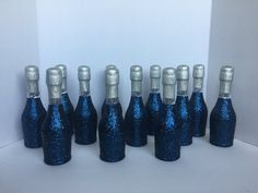 Glitter mini Champagne bottles. Navy blue and silver. Wedding favors, party favors. Baby shower favors. Quinces favors. Bridesmaid gifts.