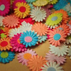Mixed Paper Flower Applique  #craft365.com