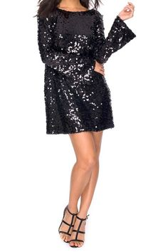 The ultimate party dress has landed! This ultra glitzy show stopper features a loose swing fit with a sultry scoop back, long flared sleeves and all over black sparkly sequin. Complete this glam look with this backless sequin mini dress, your favourite heels, hoop earrings and big waves.     Scoop Back Dress by Motel Rocks. Clothing - Dresses - Mini Clothing - Dresses - LBD Clothing - Dresses - Night Out Clothing - Dresses - Holiday West Yorkshire, Yorkshire and the Humber, England, United…