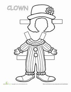 Second Grade Paper Dolls Worksheets: Clown Paper Doll