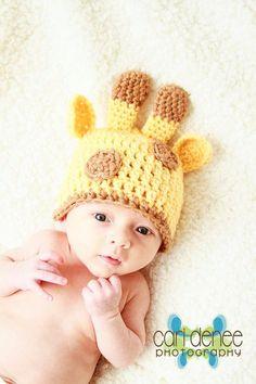 Giraffe hat. Too cute. I need to learn to crochet!