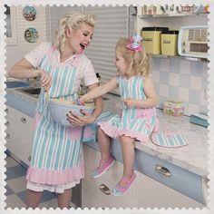 Betty's Blue & Pastel Pink - Mummy & Me Matching Apron Set